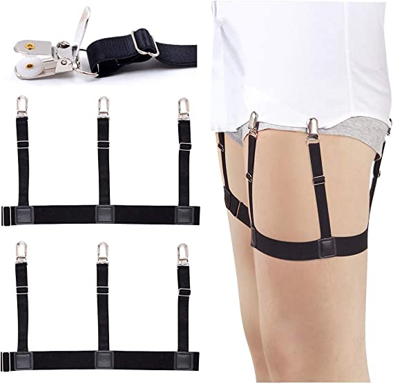 Mens Straight Suspender Shirt Stays Holder Elastic Shirt Garters Belt Metal Clip