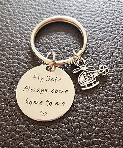 Helicopter Fly Safe Key Chain, Always Come Home to Me, Handstamp Captain Be Safe Gift