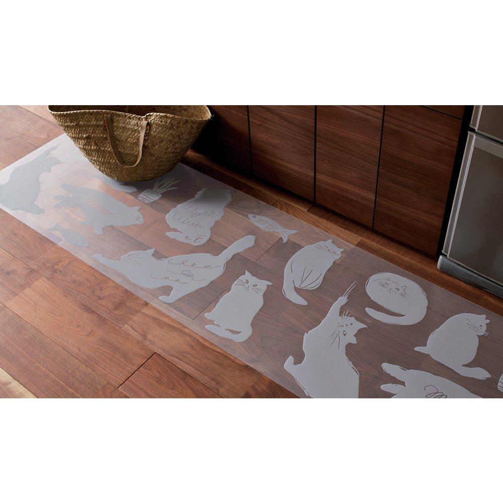 50×270cm 透明キッチンマット Meow/ミャオ H40420(サイズはありません イ:グレー)  イ:グレー B07FP6JGR8
