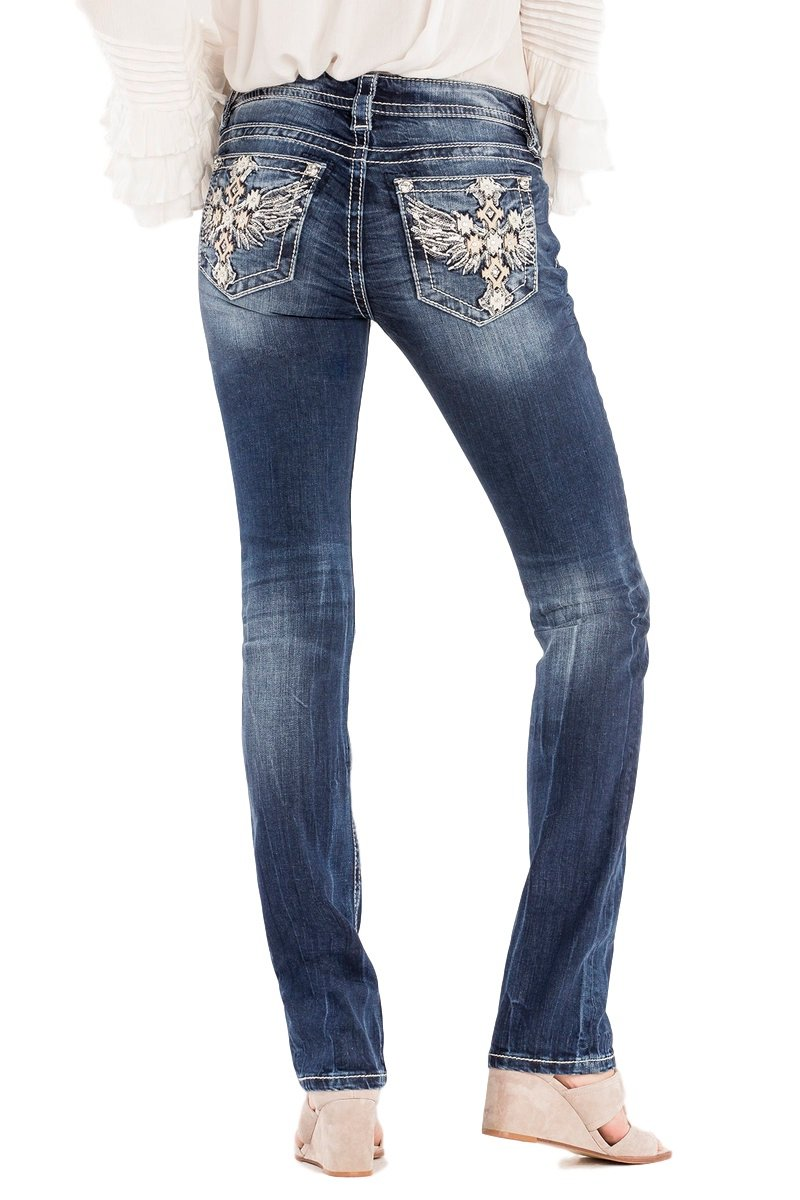 Miss Me Take Off Angel Wings Totem Pole Medium Dark Wash Straight Leg Jeans M3106T (27)