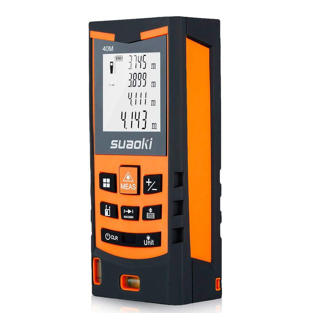 Suaoki S9 40M Té lé mè tre Laser Ecart +/-1.5mm Metre Laser Numé rique Intelligent Etanche IP54 Distances Simples et Continues/Zone/Volume/Pythagore/Zone Triangulaire-Fonction de Mesure Ajouter/Soustraire