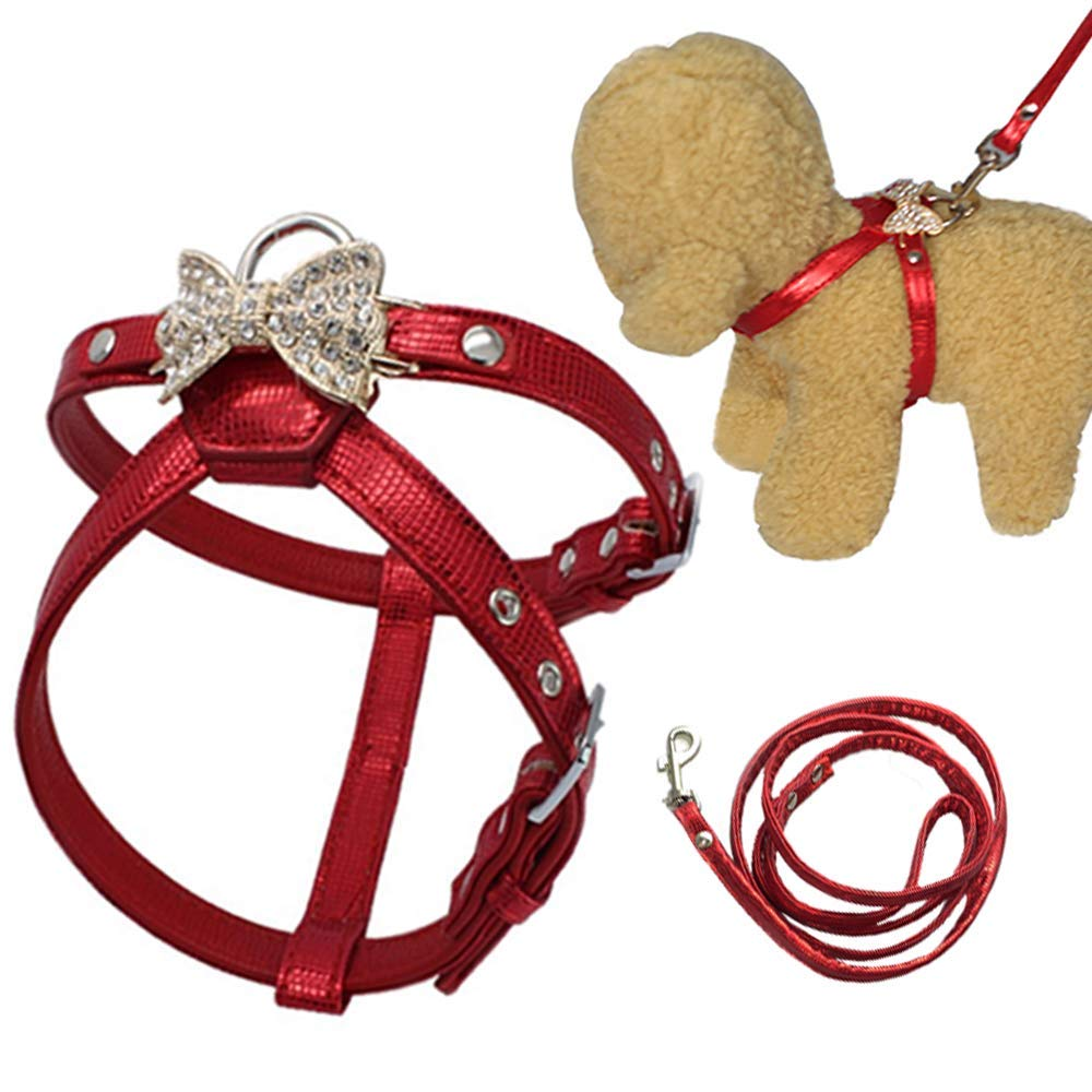 Red X-Small Red X-Small ANIAC Pet Adjustable Outdoor Harness and Leash Comfy with Rhinestone Bow-Knot for Cats Puppy and Small Dogs (X-Small, Red)