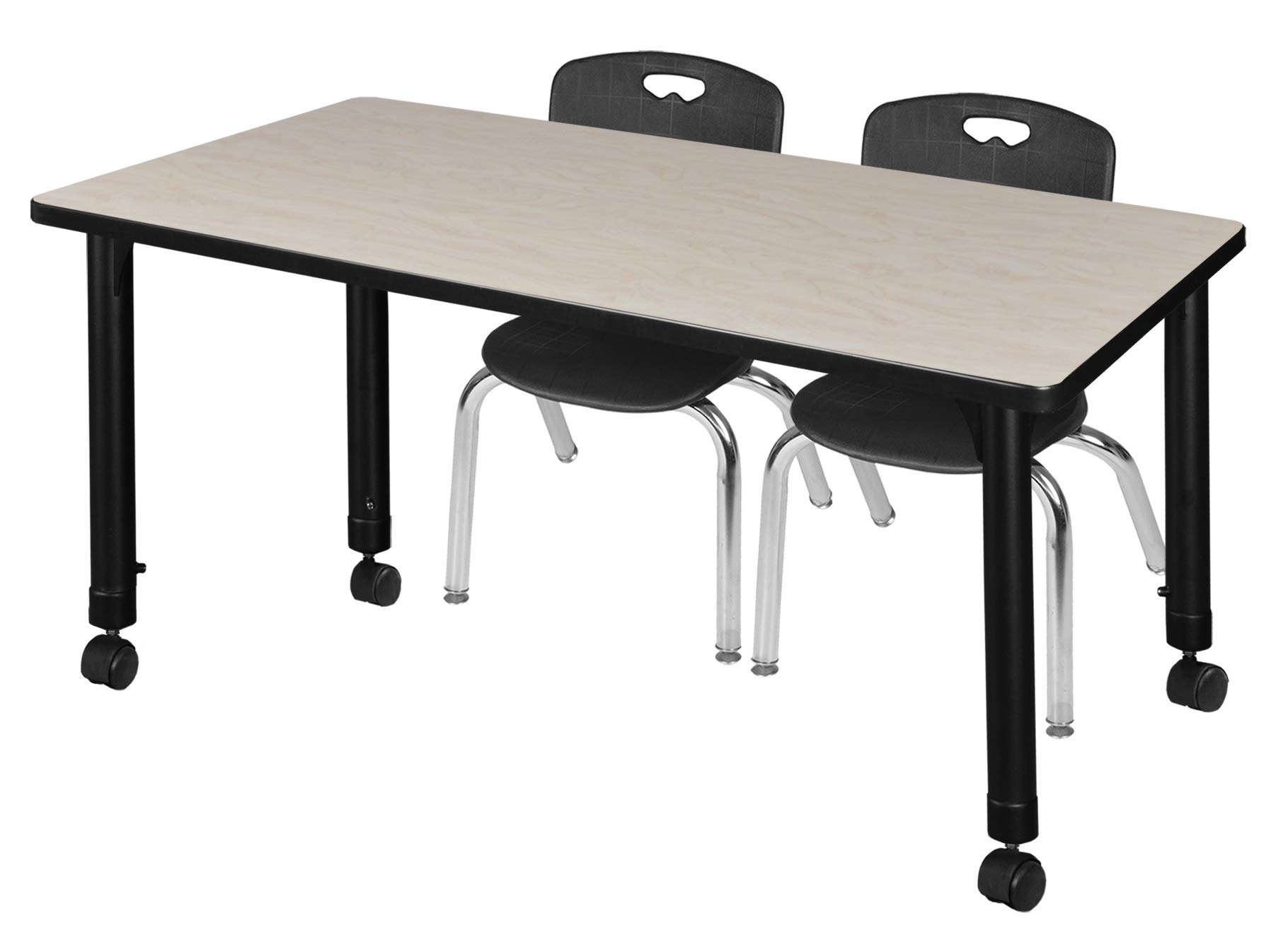 Regency MT4830PLAPCBK45BK Kee Height Adjustable Mobile Classroom Table Set with Two 12'' Andy Chairs, 48'' x 30'', Maple/Black by Regency