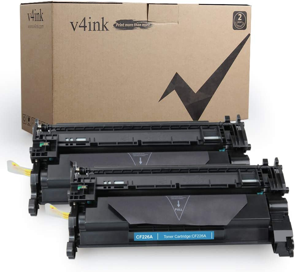 v4ink Compatible Toner Cartridge Replacement for HP CF226A 26A to use for HP Laserjet Pro M402dn M402n M402dw M402dne, HP MFP M426fdw M426fdn M426dw (Black, 2-Pack), Enhanced Version
