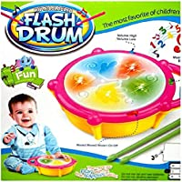 Hetkrishi Musical Toy for Kids|Flash Musical Drum with Sounds and Lights-Multicolor