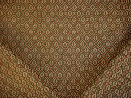 256H10 - Hunter / Burgundy Arabesque Teardrop Medallion Tapestry To the Trade Designer Drapery Upholstery Fabric - By the Yard