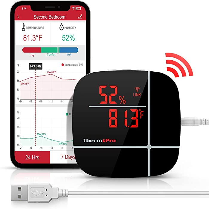 ThermoPro TP90 Smart Wireless Indoor Hygrometer WiFi Thermometer with Free iOS/Android App, Compatible with Alexa
