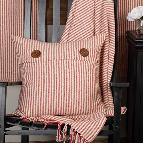 Piper Classics Homespun Red Ticking Stripe Pillow Cover, 20
