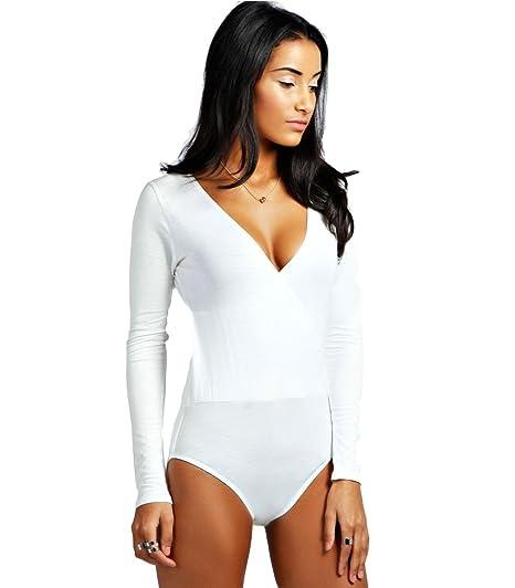5151510d60 Ex Boohoo White Wrap Front Long Sleeved Leotard Bodysuit Body Top Size 8 16  (UK 8)  Amazon.co.uk  Clothing
