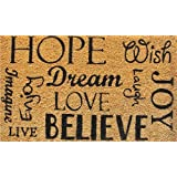 "Home & More 12048 Hope Dream Believe Doormat, 17"" x 29"" x 0.60"", Natural/Black"