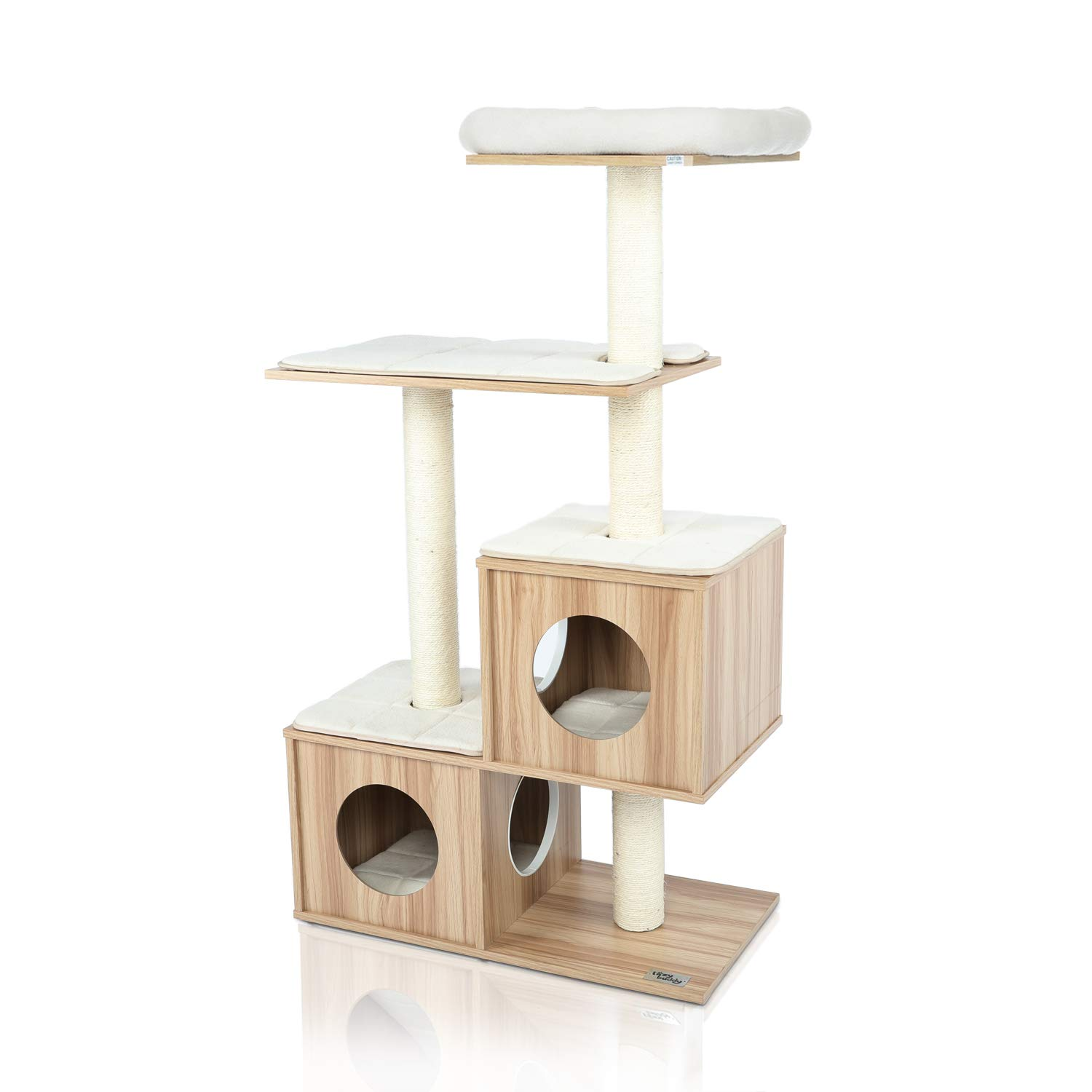"LAZY BUDDY 54"" Wooden Cat Tree, Modern Cat Tower, 4 Levels for Cat's Activity, Cat Furniture with Removable and Washable Mats for Kittens, Large Cats and Pets (Small)"