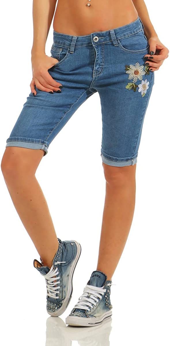 Fashion4Young 11415 Damen Jeans Bermuda Slim-Fit Shorts Kurze Hose Stickerei Panty Stretch Boho-Style