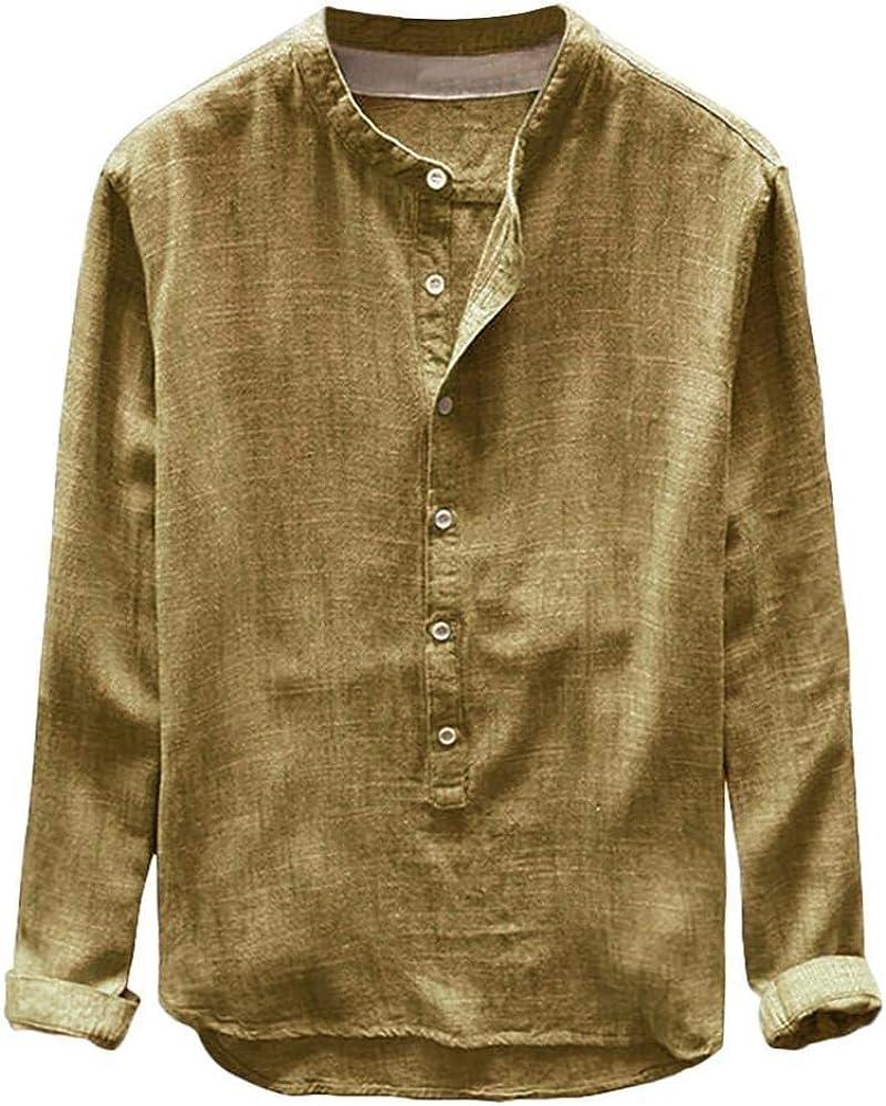 Camisas Hombre Manga Larga 2019 Moda SHOBDW Camisa Lino Hombre Casual Blusa Slim Fit Tops Shirts Collar De Pie Tallas Grandes 4XL(Amarillo, L): Amazon.es: Ropa y accesorios