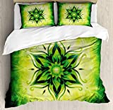 Twin Size Lotus 4 piece Duvet Cover Set Bedspread, Psychedelic Floral Mandala Ethnic Meditation Mystic Sacred Digital Image, 4pcs Bedding Set for Kids/Childrens/Adults Decor, Emerald Lime Green