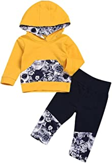 For 3~18 Months,UMFun Baby Kids Flower Skull Bone Printed Hooded Tops+Pants Boy Girl Winter Warm Outfits Set
