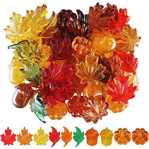 210pcs Mini Fall Leaves Pumpkin Acorns Acrylic Autumn Table Scatter for Fall, Autumn and Thanksgiving 26 Ounces ()