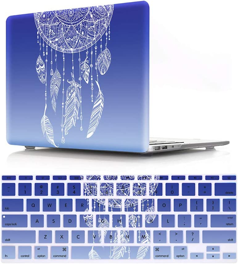 "HRH 2 in 1 Dream Catcher Feather Ombre Blue Laptop Body Shell Protective Hard Case Cover and Matching Design Silicone Keyboard Cover for MacBook Air 11 inch 11.6""(Models: A1370 and A1465)"