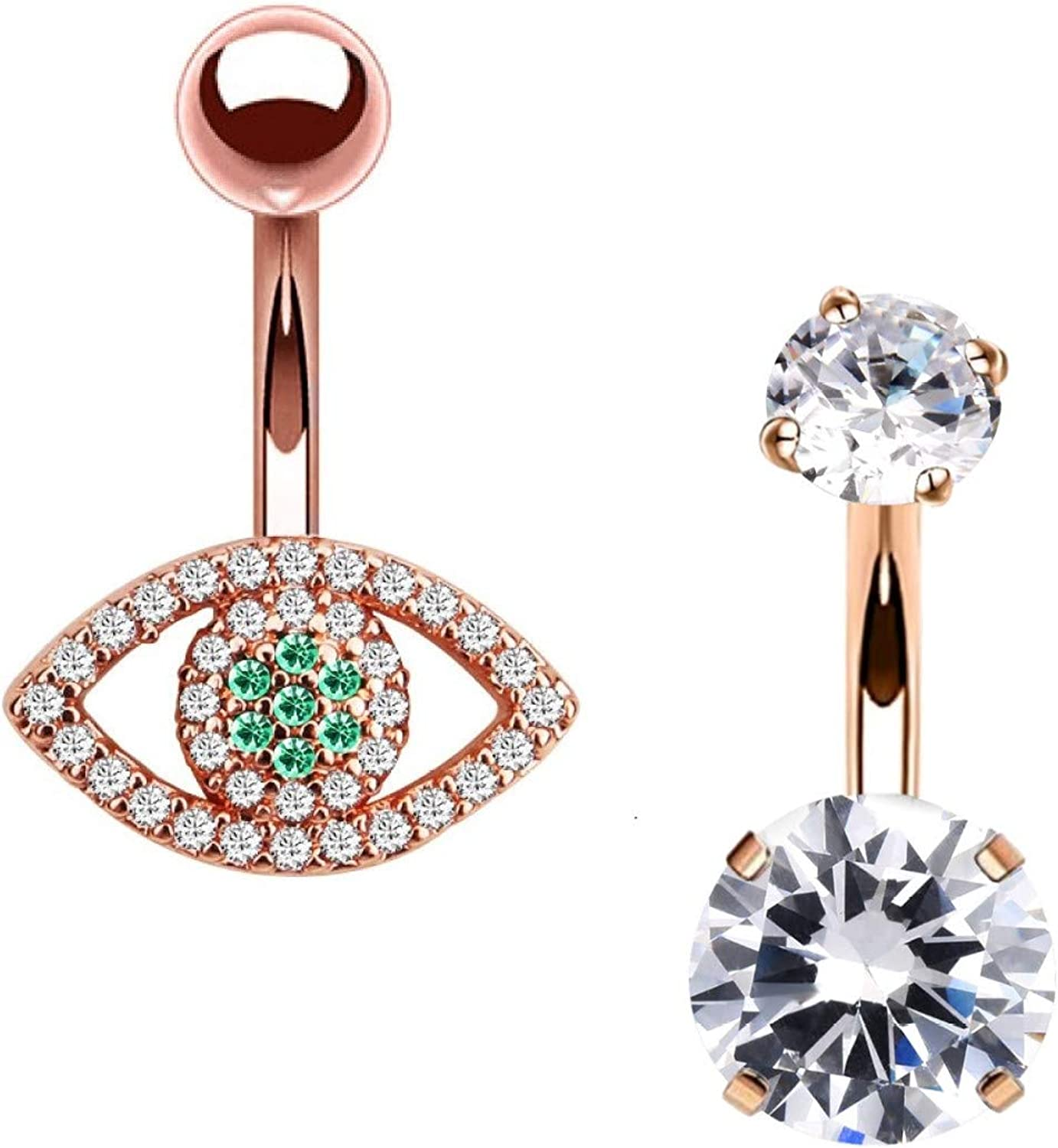 HAO HONG Belly Button Rings Clear CZ Navel Rings Belly Rings Belly Piercing Body Piercing