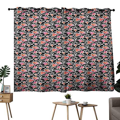 Zmlove Customized Curtains Abstract Paisley Style Pattern of Water Splashes Ombre Motifs with Floral Influences Coral Pink Black Noise Reducing Curtain W63 xL45