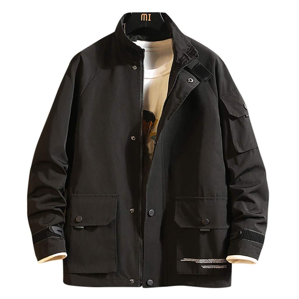 Allywit-Mens Lightweight Men's Cotton Military Jacket Casual Outdoor Windbreaker Coat Plus Size Black