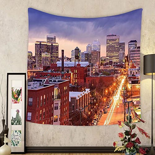 Gzhihine Custom tapestry United States Tapestry Richmond Virginia Highway Office Buildings Downtown at Dusk Urban Lifestyle for Bedroom Living Room Dorm - Richmond Virginia In Outlets