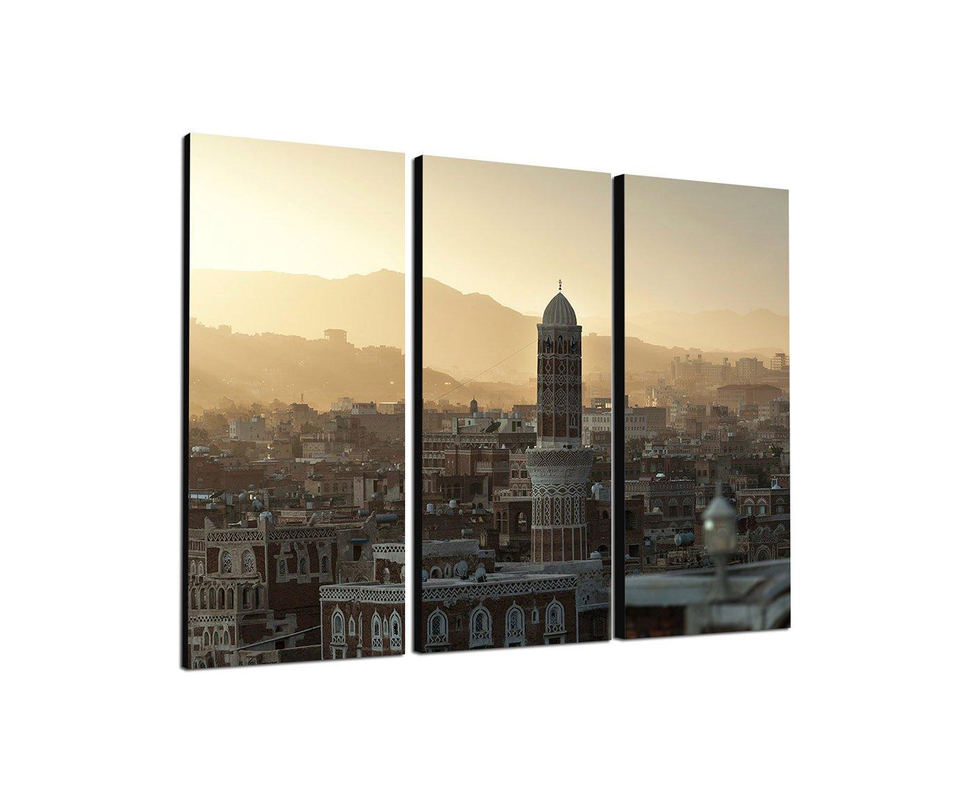 Jemen Sanaa 3x40x90cm dreiteiliges Wandbild auf Leinwand und Keilrahmen fertig zum aufhängen - Unsere Bilder auf Leinwand bestechen durch ihre ungewöhnlichen Formate und den extrem detaillierten Druck aus bis zu 100 Megapixel hoch aufgelösten Fotos. Paul S