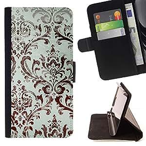 For Sony Xperia Z1 Compact / Z1 Mini (Not Z1) D5503 Case , Wallpaper Blanco Marrón floral- la tarjeta de Crédito Slots PU Funda de cuero Monedero caso cubierta de piel
