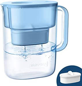 Waterdrop 10-Cup Water Filter Pitcher with 1 Filter, Long-lasting (200 gallons), 5X Times Lifetime Filtration Jug, Reduces Lead, Fluoride, Chlorine and More, BPA Free, Blue, Model: WD-PT-07B