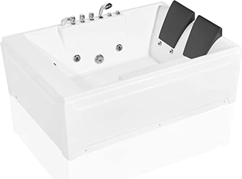 Empava 72 in. Acrylic Whirlpool Bathtub 2 Person Hydromassage Rectangular Water Jets Alcove Soaking SPA Double Ended Tub EMPV-JTX367, 72 Inch, White