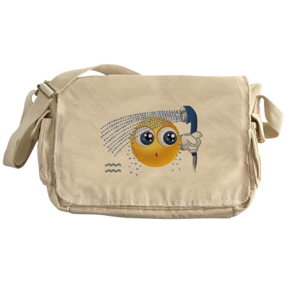 Truly Teague Khaki Messenger Bag SmileyFace Zodiac Aquarius