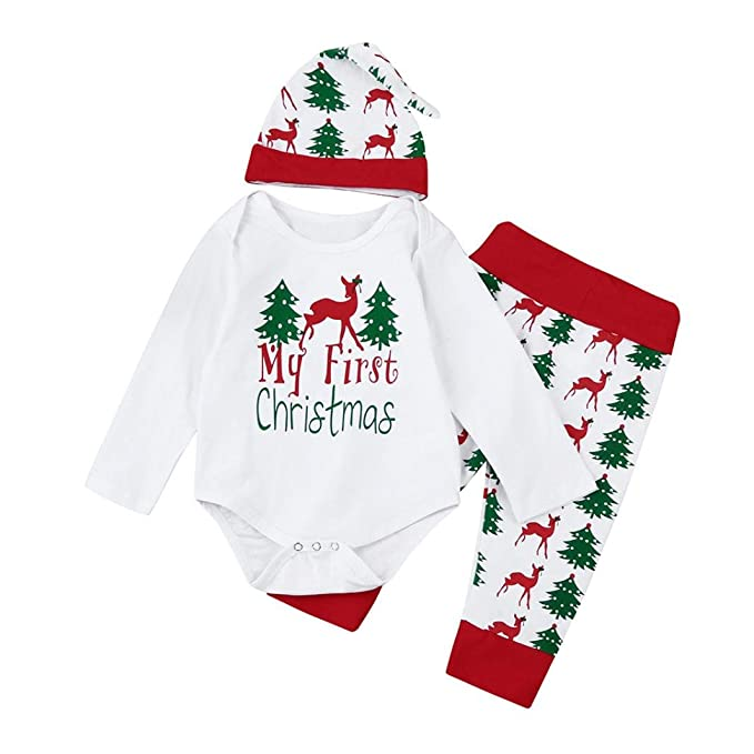 Ropa de Navidad bebé, Infantil Bebé niños niñas Trajes de Navidad Conjunto Mameluco + Pantalones + Sombrero 3 Mes - 2 Años