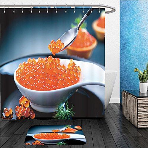 Beshowereb Bath Suit: ShowerCurtian & Doormat caviar red caviar in spoon on a black background gourmet food gourmet food close up appetizer 342261467