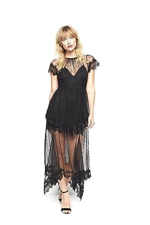13084f41f9 Alice McCALL Black Maxi Evening Dress Sheer Lace Tulle  Amazon.co.uk   Clothing