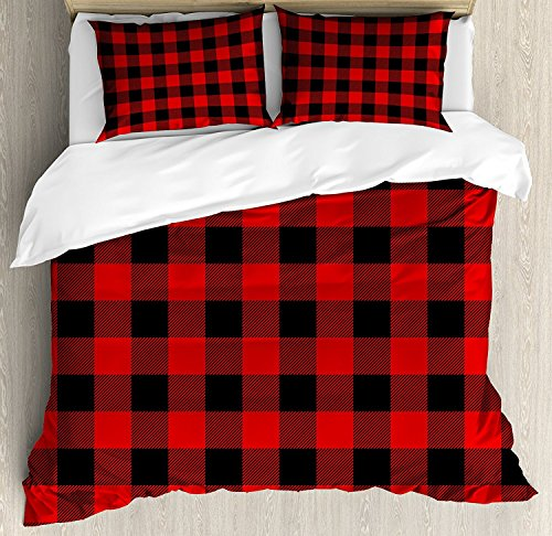 Queen Size Bedding Duvet Cover Set,Red & Black Plaid Buffalo Style Checks Pattern Retro Style with Grid Composition,4 Piece Duvet Cover Set Bedspread for Children/Kids/Teens/Adults/Girls/Boys -