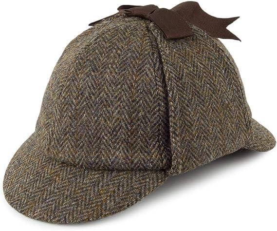 Oliva-Azul Village Hats Gorra Plana Stornoway de Tweed Harris de Failsworth