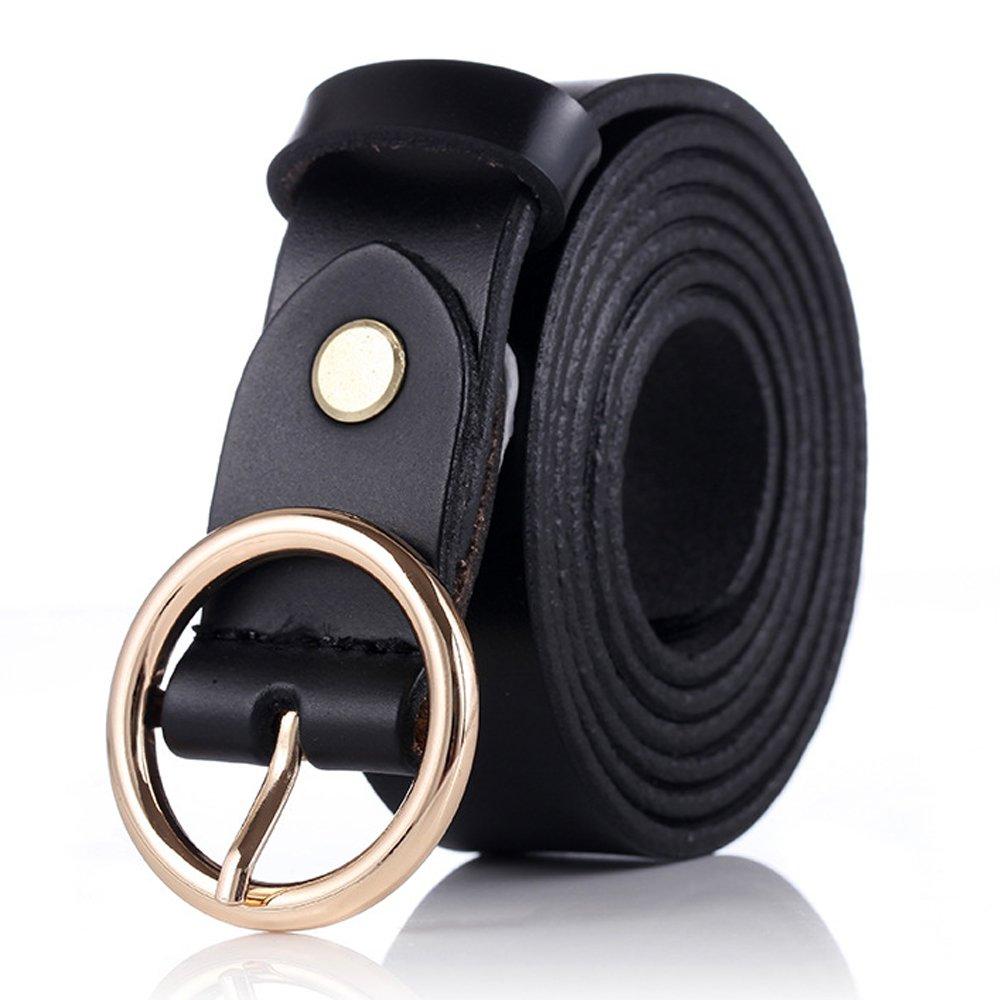 GAXmi Belts Women Leather Ladies Womens Belt for Jeans Round Golden Buckle