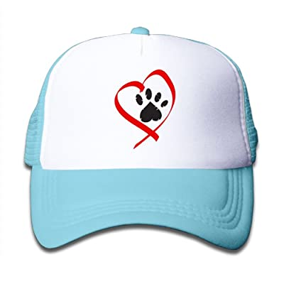 NO4LRM Kid's Boys Girls Paw Heart Youth Mesh Baseball Cap Summer Adjustable Trucker Hat
