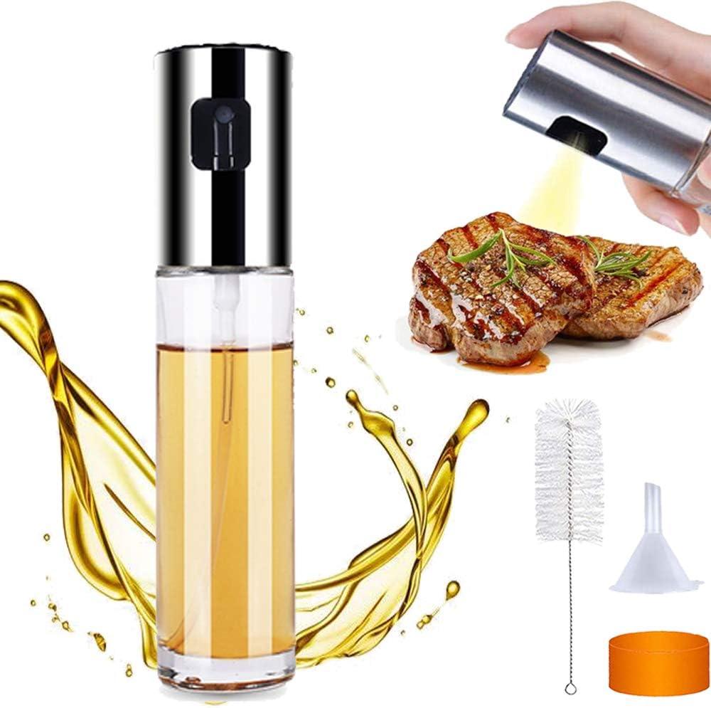 Cdycam Oil Sprayer for Cooking, Olive Oil Spray Bottle, Oil Sprayer Mister for BBQ, Salad, Baking, Roasting, Grilling, Frying, 304 Stainless Steel Bottles Lid Food-Grade Glass 3.4-Ounce Capacity