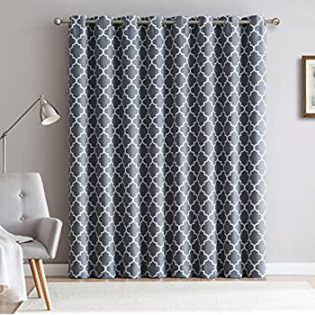 ME Lattice Print Thermal Grommet Room Darkening Blackout Patio Door Curtain  For Sliding Glass