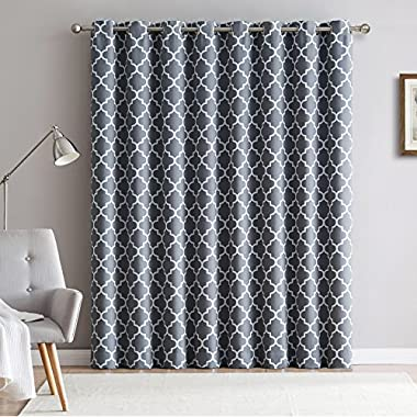 HLC.ME Lattice Print Thermal Grommet Room Darkening Blackout Patio Door Curtain for Sliding Glass Door - Grey - 100  W x 84  L