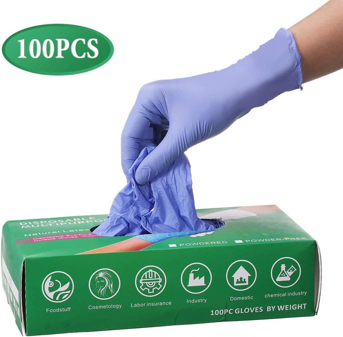 Slimerence Medical Nitrile Disposable Gloves Powder Free Textured Foodstuff Chemical Domestic Industry Blue Box of 100 Blue XS
