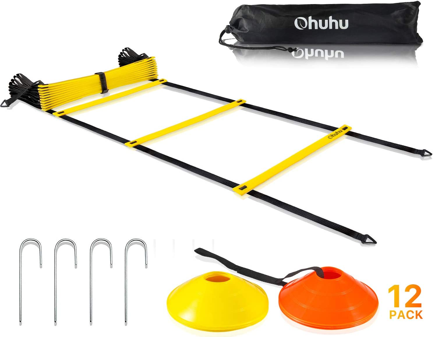 Ohuhu Speed Training Ladder Agility Training Set – 12 Rung 20Ft Agility Ladder and 12 Field Cones,4 Steel Stakes Carrying Bag,Footwork Equipment for Soccer Football Boxing Drills