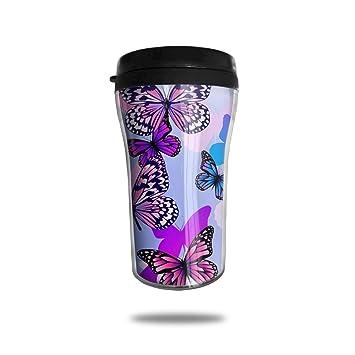 c3e910b5063 FTRGRAFE Purple Blue Pink Butterfly Travel Coffee Mug 3D Printed Portable  Vacuum Cup,Insulated Tea