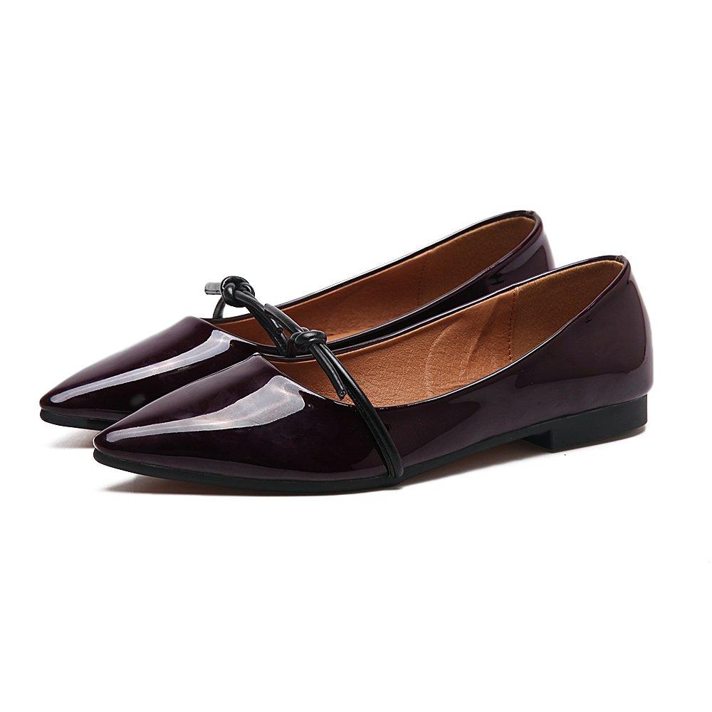 Xue Qiqi Court Schuhe Flacher weiblicher Flacher Mundschmetterling der flachen Schuhe flach mit den einfachen einfachen Schuhen des niedrigen Absatzes des Patentleders 38 Weinrot