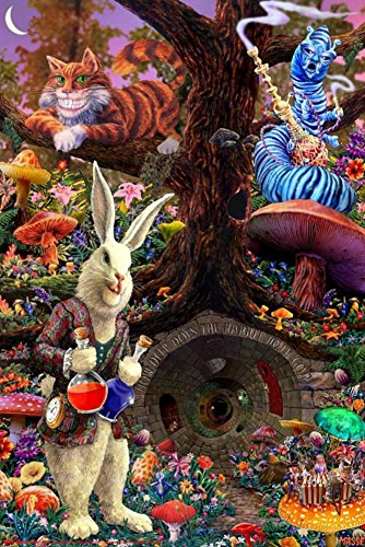 Hippies In The 70s (Down the Rabbit Hole - Alice in Wonderland Poster 24 x 36in)