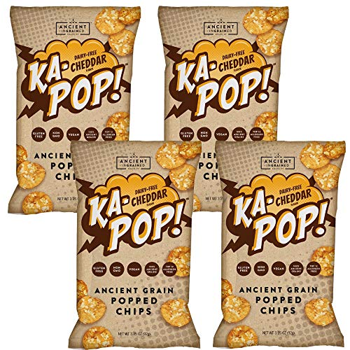 Ka-Pop! Popped Chips, Vegan Cheddar (3.25oz, Pack of 4) - Allergen Friendly, Ancient Grains, Gluten-Free, Paleo, Non-GMO, Healthy, Whole Grain - Vegan Cheddar