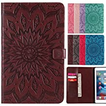 LEMORRY Apple iPad mini 4 Case Leather Flip Wallet Pouch Slim Fit Bumper Protection Magnetic Strap Stand Card-Slot Soft TPU Tablet PC Holster Cover for Apple iPad mini4, Blossom (Brown)