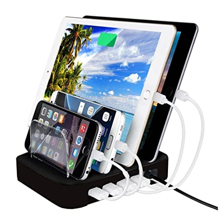 UNMCORE (65W) Latest Multi 4 Port Detachable Desktop USB Charging Station Dock Stand Organizer for Smartphones Tablets - Black