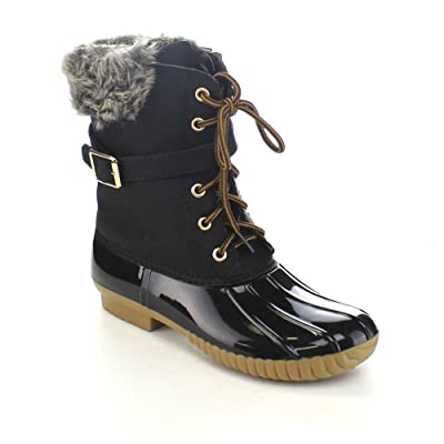 Nature Breeze Duck-01 Women's Chic Lace Up Buckled Duck Waterproof Snow Boots | Snow Boots