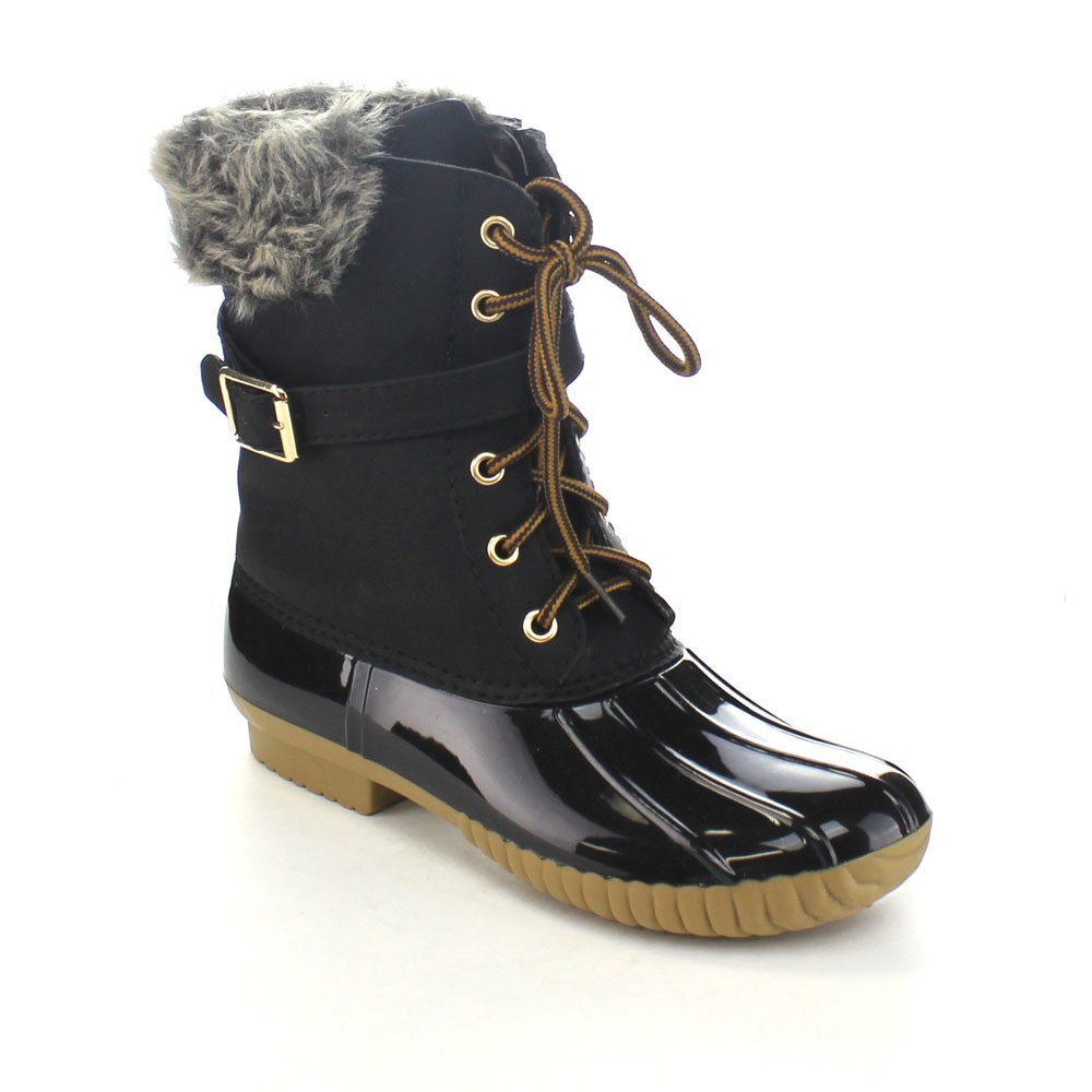 Nature Breeze Duck-01 Women's Chic Lace up Buckled Duck Waterproof Snow Boots B01MRYCCVX 12 M US|Black